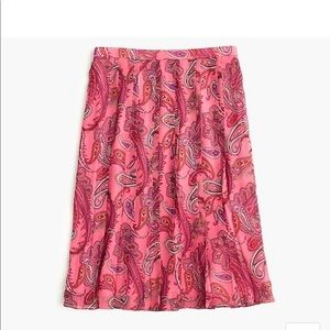 NWT J. Crew Double Pleated Skirt in vivid paisley